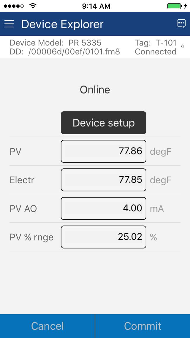 ProComSol DevCom.iOS HART Configuration App